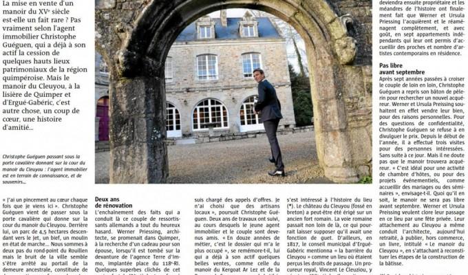 Le Manoir Du Cleuyou. Le Quotidien Local « LE TÉLÉGRAMME » en fait la UNE du journal…
