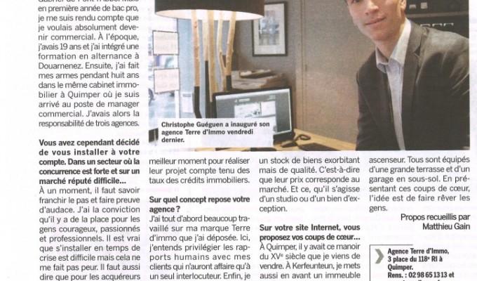 Article dans le journal «Côté Quimper» (Du 20 au 26 Février 2013)