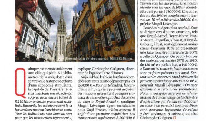 Interview de Christophe GUEGUEN dans le Magazine «Le Nouvel Observateur» Spécial immobilier Quimper – Mars 2016