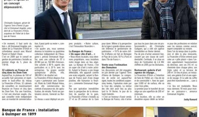» La Banque de France VENDUE » Le Quotidien Local «LE TÉLÉGRAMME» en fait la UNE du journal…Ce bien à été VENDU PAR NOTRE AGENCE…
