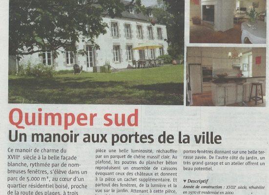 Dans la rubrique «L'immobilier» du journal Le Télégramme – Mercredi 18 Juin 2014